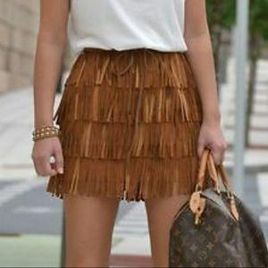Zara Tan Fringe Faux Leather Mini Skirt  XS